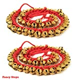 #5: FANCY STEPS Kathak Ghungroo (25 + 25) Red Cotton String For Classical Dance (1.6 CM)