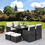 Rattan Cube Garden Furniture Set 8 se...
