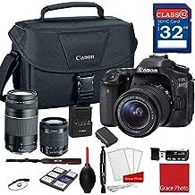 Canon EOS 80D DSLR Camera W/EF-S 18-55mm F/3.5-5.6 Is STM And EF 75-300mm F/4-5.6 III Lenses + 32GB Memory + Canon Camera Case + More
