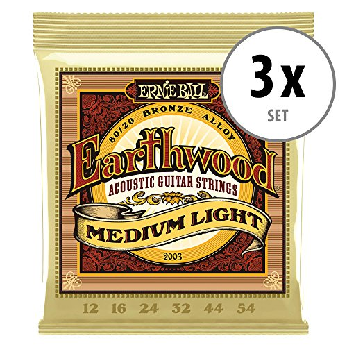 3er Set Ernie Ball 2003 Earthwood 80/20 Medium Light Saiten -