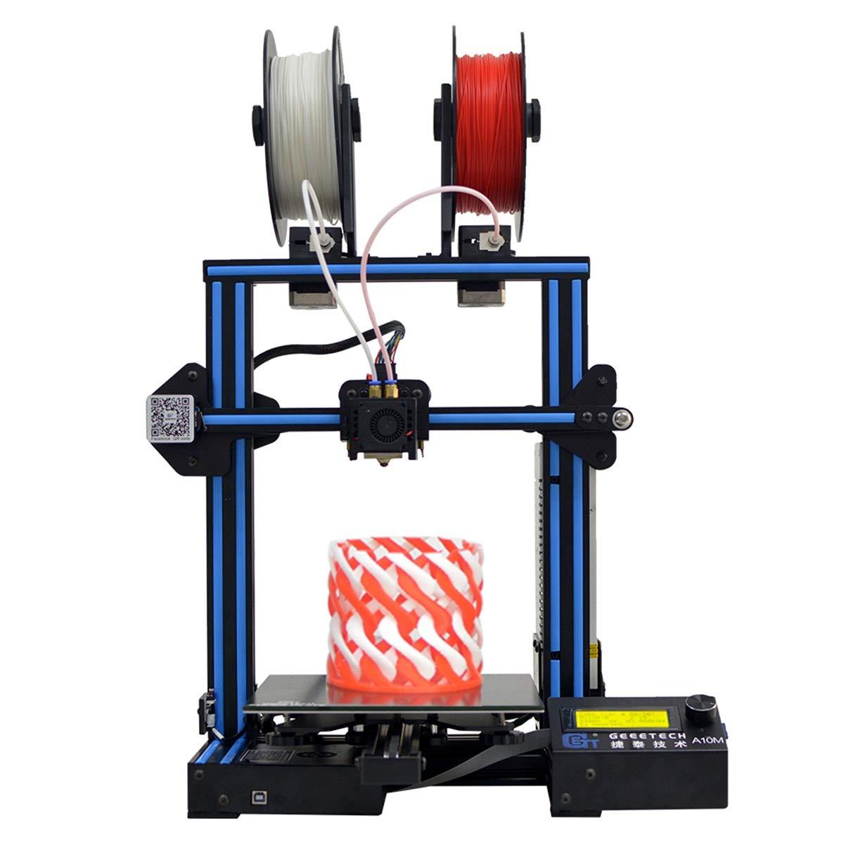 GEEETECH Imprimante 3D A10M avec impression multi-couleurs, double extrudeur, détecteur de fin de filament, fonction reprise d'impression après coupure, kit type Prusa i3 à assemblage rapide
