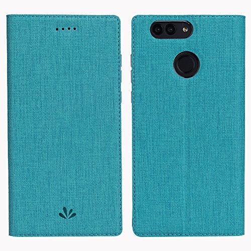 Huawei Nova 2 Plus Hülle,Eactcoo Dünn Premium PU Leder klappbares Folio Flip Case Book TPU Cover Bumper Tasche Mit Standfunktion Magnetverschluss Kartenfach Wallet Handyhülle (Nova 2 Plus, Blue)