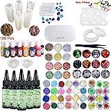 5 piezas 30 ml de resina epoxi de cristal adhesivo UV, 1 pinza de lámpara 60 decoración 12 piezas de molde de silicona 100 anillos 13 pigmento líquido de color para joyería de artesanía pendientes