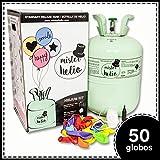 Bombona de Helio Desechable Mister Helio, para hinchar 50 globos de latex incluidos