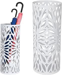 Bakaji Portaombrelli Stand in Ferro Design Porta Ombrelli Forma Rotonda Colore Nero con Decorazione Intarsio a petalo Vaschetta Salva goccia e Gancio Ombrelli Pieghevoli