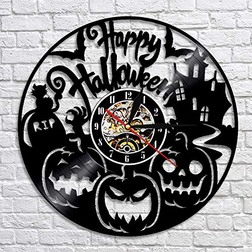 Menddy Led Halloween Thema Dekorative Uhr Schallplatte Wanduhr Wohnzimmer Dekoration Mit Led-Licht 12 Zoll