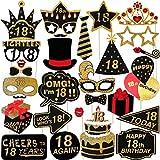 LUOEM 29pcs cumpleaños 18 Photo Booth Props Glitter Feliz cumpleaños Props celebración Mejor 18 cumpleaños Decoraciones de la Fiesta para su o su Fiesta de cumpleaños Favor de Suministros