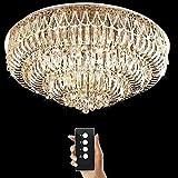 Junhong Lighting LED 3 Helligkeit Kristall Lampe Modern Chrom Runde LED Deckenleuchte Schlafzimmer Lampe Restaurant Licht Luxus Atmosphäre Wohnzimmer Lampe Mit Fernbedienung (D120cm x H46cm)