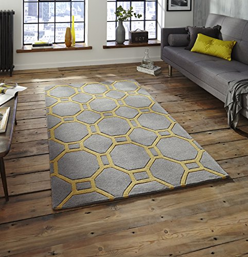 Think Rugs Hong Kong 4338 Hand Tufted Rug, Grey/Yellow, 120 x 170 Cm by Think Rugs (Schwarz Octagon Teppich)