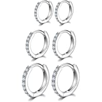 Silver Hoops Earrings for Women, 925 Sterling Silver Post Small Silver Hoop Earrings with AAA Cubic Zirconia, 3 Pairs…