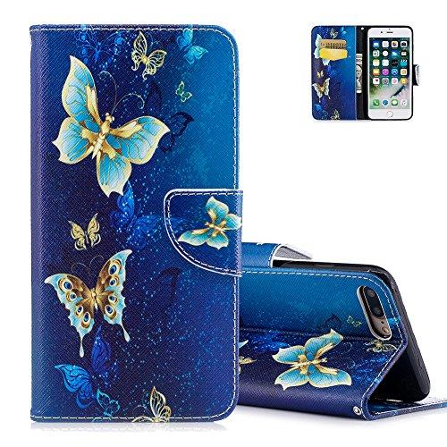 Preisvergleich Produktbild iPhone 7 plus Ledertasche, Brieftasche für iPhone 7 plus, Aeeque® [Vintage Blau Golden Schmetterling Muster] Kartenfach Standfunktion Schutzhülle Etui Handytasche für iPhone 7 PLUS (5.5) mit Weich Silikon Innere Bumper Schale