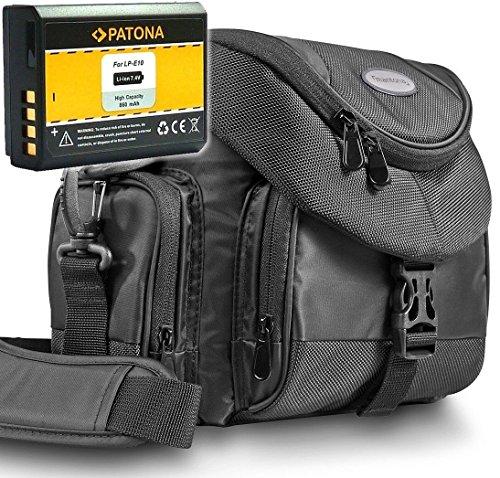 KIT Mantona Premium System Tasche schwarz + PATONA Akku für CANON LP-E10 Für CANON EOS 1100D 1200D 1300D