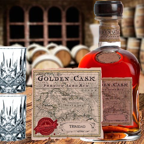 Rum Rarität Trinidad - Handabgefüllt - Premium Aged RUM aus 1990 - 28 Jahre alt Golden CASK - limitierte Edition| nur noch 42 Flaschen weltweit | in exklusiver Box mit 2 Gläsern (Tumbler)