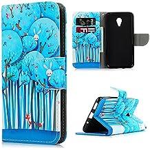 Meizu M2 Note Funda Libro de PU Leather Cuero - Mavis's Diary Funda para móvil Carcasa Con Flip case cover,Cierre Magnético,Función de Soporte,Billetera con Tapa para Tarjetas-Diseño de Mundial de los Animales,azul