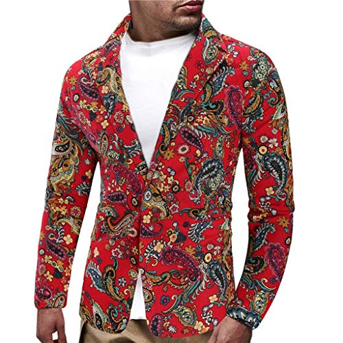 Oliviavane Herren Anzug Vintage Ethnic Printed Kleid Gedruckt Slim Fit Blazer Jacke Streetwear Freizeit Baumwolle Anzug Herbst Streetwear Dünne Jacke Knit Blazer-jacke