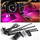 GoMechanic Atmosphere Lights Car LED Strip Light 4pcs 48 LED DC 12V Multicolor Interior Light LED Under Dash Lighting Kit wit
