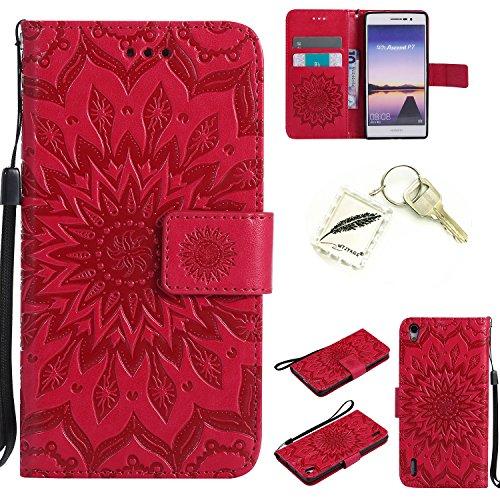 Preisvergleich Produktbild Silikonsoftshell PU Hülle für Huawei Ascend P7 (5 Zoll) Tasche Schutz Hülle Case Cover Etui Strass Schutz schutzhülle Bumper Schale Silicone case+Exquisite key chain X1#KD (1)