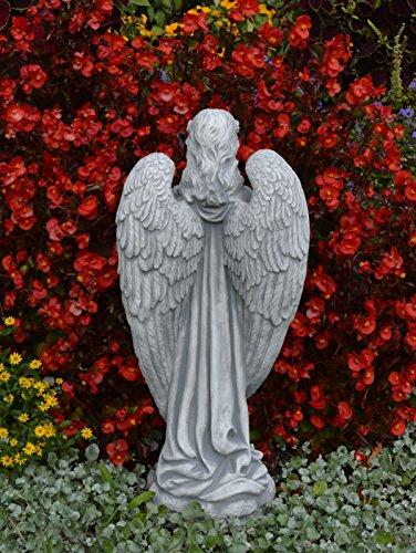 Massiver großer Stein Engel aus Steinguss frostfest Raumdeko Grabdeko