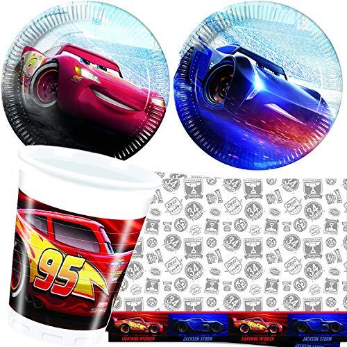 G. Party-Set * Cars Legend * mit Teller + Becher + Servietten + Tischdecke   Deko Kinder Geburtstag Motto Disney Rennauto Film Lightning McQueen ()