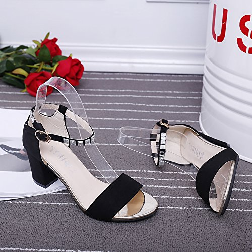 XY&GKDamen Sommer Sandalen Mädchen mit Schuhen 37 black