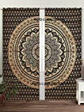 Schwarz Mandala Golden Ombre Dona Vorhang Set für Wand aufhängen Fenster Vorhang Set, Hippie Tapisserie Tür cutain Decor Gardinen Fall Raum Vorhang Balkon-Set Boho Ethnic windowtreatment & Platten