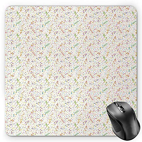 BGLKCS Birthday Mauspads,Festive and Colorful Confetti Pattern Happy Occasion Theme Dots Stars and Streamer,Standard Size Rectangle Non-Slip Rubber Mousepad,Multicolor