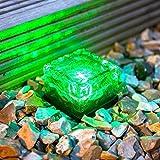 Giardini, ad alimentazione solare con luci a forma di cubetto di ghiaccio, KEEDA LED colorati in vetro Brick da lastricato, per interni ed esterni, per interni, giardino, sentiero e sentieri erbosi
