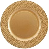 Brunchfill Set of 6 Hammered GOLD Charger Plates Decorative Under-plates by Brunchfill