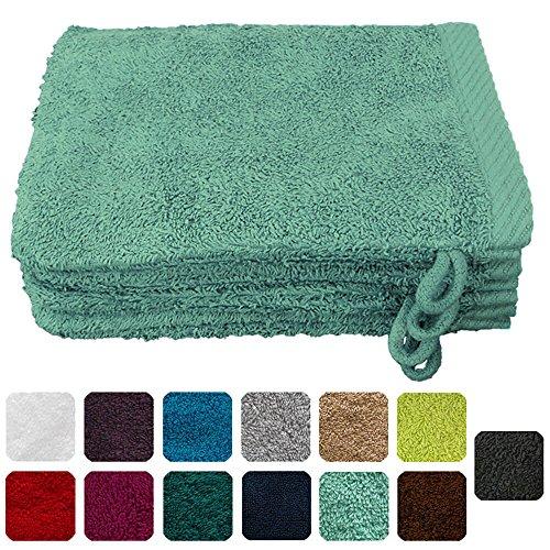 Lanudo® Luxus 4er Set Waschlappen / Waschhandschuhe 16x21 cm, 600g/m², 100% Baumwolle, Serie Pure Line in höchster Qualität, Farbe: Mint-Grün (Waschlappen Urlaub)