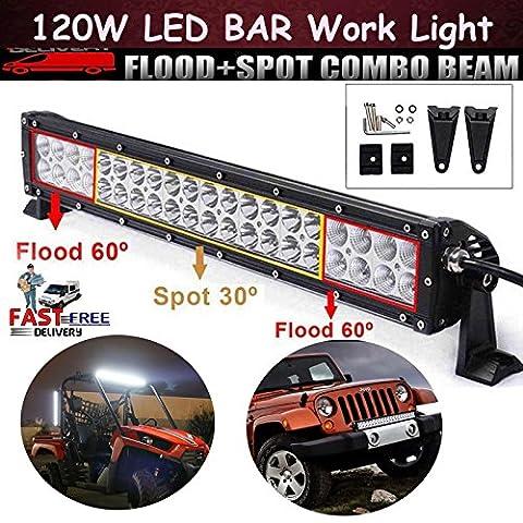LED-Arbeitsleuchte Bars 120Watt, 40Lichter Flutlicht Spot Licht Lampe Off Road SUV Jeep 12V 24V