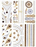 DaLin 6 Sheets Gold Silver and Black Body Temporary Metallic Tattoos Jewelry, Floral Necklace, Sea-m