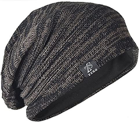 Chic Men Baggy Beanie Slouchy Knit Skull Cap Hat (Brown with Black)