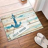 Gohebe Hello Summer Old barca di legno con blu Anchor tappeto da pavimento antiscivolo Entryways indoor outdoor anteriore zerbino tappeto bagno tappetino da bagno, 60x 40cm