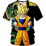 Moda de verano Super Luminoso Dragon Ball 3D Patrón de impresión de los hombres de manga corta tendencia casual camiseta ropa