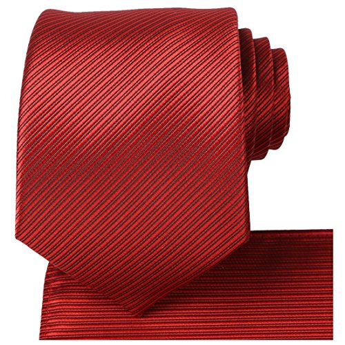KissTies Men's Necktie Solid Pure Color Striped Tie for Wedding, fushia hot pink