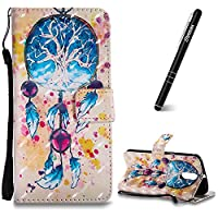 Motorola Moto G4 Case, Moto G4 Plus Leather Case, Slynmax 3D Printing Campanula Design Flip Folio PU Leather Wallet Case Inner Soft TPU Cover with Stand Function Hand Strap Card Holders Magnetic Closure Ultra Thin Book Style Shock Resistant Protective Cas