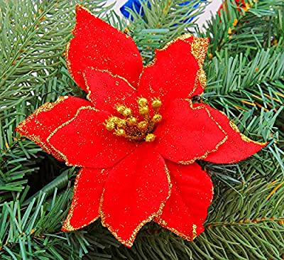 Artificial Christmas Flowers.6 Artificial Poinsettia Christmas Flower Decoration