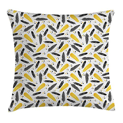 VYPHN Yellow Decor Throw Pillow Cushion Cover, Bird Feathers Patterns and Polkadots Exotic Tribal Stylish Artwork Print, Decorative Square Accent Pillow Case, 18 X 18 inches, Yellow Black - Tribal Artwork
