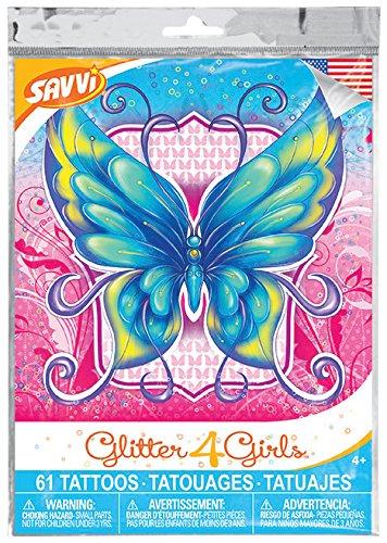 Glitter4Girls Girls Temporary Tattoos – 50+ assorted glitter tattoos