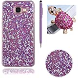 Bling Paillette Coque Pour Samsung Galaxy A3 2016 / A310, SKYXD Transparente Shine Bling Glitter Coque Ultra Slim Crystal Premium Housse Étui Soft Silicone TPU Bling Strass Protection Coque Pour Samsung Galaxy A3 2016 / A310-- Violet Feuille D'or