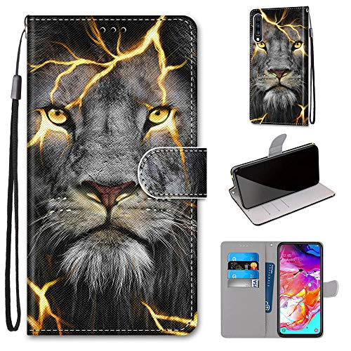 Miagon Flip PU Leder Schutzhülle für Samsung Galaxy A70,Bunt Muster Hülle Brieftasche Case Cover Ständer mit Kartenfächer Trageschlaufe,Wütend Löwe