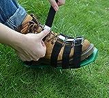 Kitclan 4 Riemen Rasenlüfter Schuhe, Rasenbelüfter Sandalen 5 cm lange Bodennägeln für Haus und Garten (1 Paar ) grün - 4