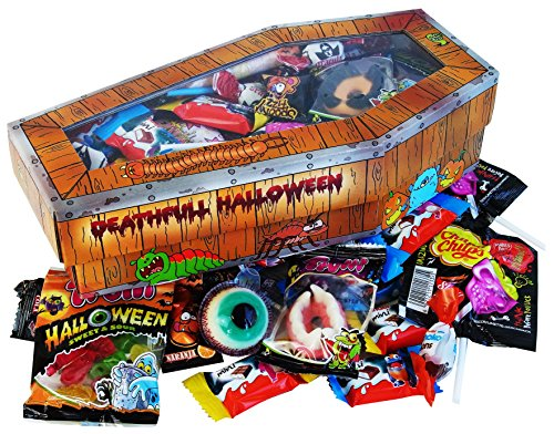 Kostüme Sarg (Halloween Party Sarg mit schaurigen Süßigkeiten, 1er Pack (1 x)