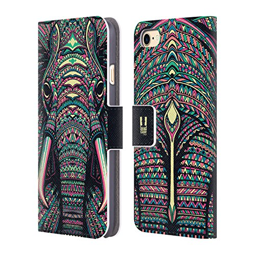 Head Case Designs Pferd Aztekische Tiergesichter Brieftasche Handyhülle aus Leder für Apple iPhone 4 / 4S Elefant