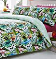 Tropical Jungle Birds Reversible Print Quilt Duvet Cover Bedding Set (Double) by DE CAMA produced by De Cama - quick delivery from UK.