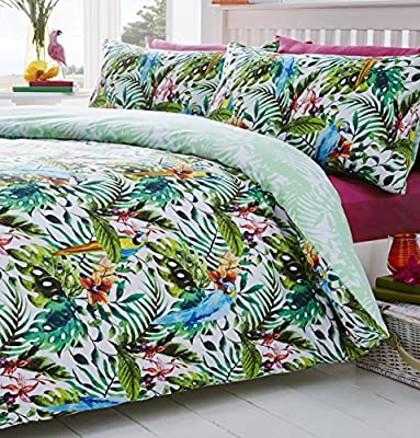 Tropical Jungle Birds Reversible Print Quilt Duvet Cover Bedding Set (Double) by DE CAMA - inexpensive UK light shop.