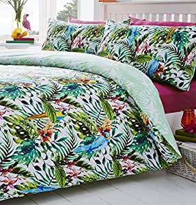 tropical jungle oiseaux couette imprim r versible housse de couette parure de lit 48 coton. Black Bedroom Furniture Sets. Home Design Ideas