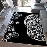 Teppich-Home Designer Teppich Schwarz Weiß Kunstvoll Modern Totenkopf Motiv, Maße:160x230 cm
