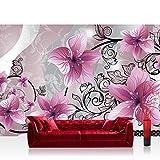 Fototapete 368x254 cm PREMIUM Wand Foto Tapete Wand Bild Papiertapete - Orchideen Tapete Blumen Blüten Orchideen Kunst Schnörkel rosa - no. 2647