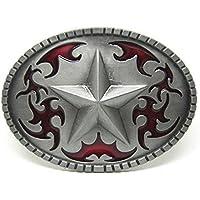 LKMY West Silver Star Belt buckles For Men,Vintage Style American Cowboy Belt Buckle